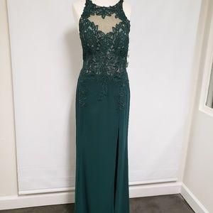 Xscape Embroidered Slit Dress